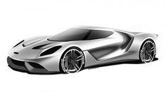 Ford GT Design Theme C Design Sketch Render by Colin Bonathan