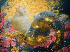 """Sleeping Mermaid Art by Russian-American artist Victor Nizovtsev Fantasy Kunst, Fantasy Art, Victor Nizovtsev, Magic Realism, Mermaids And Mermen, Fantasy Mermaids, Real Mermaids, Merfolk, Art Moderne"
