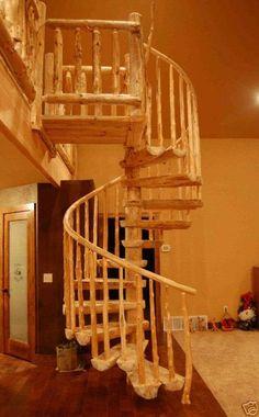 Rustic Log Spiral Staircase Stairway Price per Step Circular Round Stairs