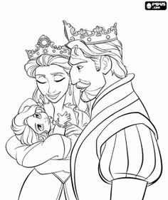 repunzel Drawings | The King and Queen with her beautiful daughter, Rapunzel coloring page