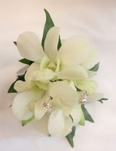 White Orchid Wrist Corsage with diamante spriggs - Occasions ...