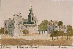 Het voormalige kasteel Liesveld (Slot Liesvelt) bij Groot-Ammers, getekend in 1733.