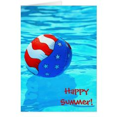 #Happy Summer-beach ball in pool Card - cyo customize do it yourself diy