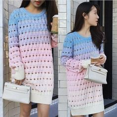 "Fashion hollow-out gradient color knitted dress   Coupon code ""cutekawaii"" for 10% off"