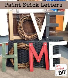 Upcycle paint stick to make beautiful DIY decorative letters Home decor made easy These Monogram letters are an easy and cheap project Industrial Decor DIY Letters Lett. Stick Letters, Diy Letters, Wooden Letters, Wooden Stars, Paint Stir Sticks, Painted Sticks, Wood Sticks, Diy Simple, Easy Diy