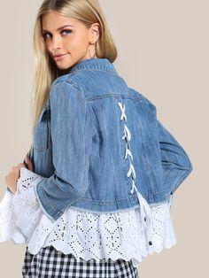 SheIn bietet Lace Applique Denim J . Denim Fashion, Fashion Outfits, Fashion Top, Fashion Ideas, Jeans Trend, Denim Ideas, Denim Crafts, Lace Jacket, Jacket Jeans