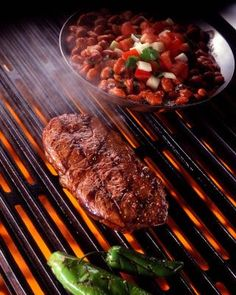 Premium Thick-Wrap Canvas Wall Art Print entitled Rib eye steak on grill with beans, None Ribs Au Barbecue, Ribs On Grill, Bbq, Cooking Steak On Grill, How To Grill Steak, Grilling Recipes, Pork Recipes, Cooking Recipes, Copykat Recipes