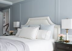 White headboard. Gray bedroom with white headboard. Master bedroom with gray walls and white headboard. #White #Headboard #Bedroom Chango & Co. Photo by Ball & Albanese.