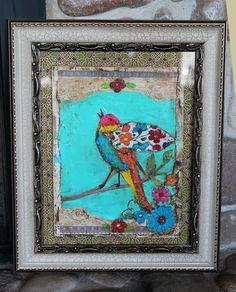 framed bird collage