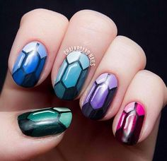 """TUTORIAL: Precious Gems Nail Art Inspired by The Ring and The Crown Turn your nails into jewels fit for a queen with this step by step nail art tutorial inspired by Melissa de la Cruz's """"The Ring and The Crown. Beautiful Nail Designs, Cute Nail Designs, Gem Nails, Hair And Nails, Jewel Nails, Dimond Nails, Emerald Nails, Chalkboard Nails, Geometric Nail Art"""