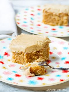Apple Cake with Salted Caramel Frosting - A simple moist Apple Spice Cake (sheet cake recipe) topped with rich creamy salted caramel frosting. Apple cake