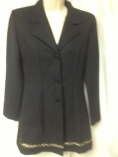 Vintage circa 80's long blazer black w gold trim sz 3/4 jacket