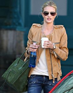 oh rosie how we love your style - leather jacket, aviators, coffee, celine bag #privilegeclothing