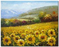 Flower Field Landscape Oil Painting Italian Tuscany Landscape SunFlower Field Landscape-013