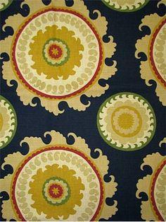 """Ponderosa - Blue"" from Alfred Shaheed, a cotton/linen suzani print at $21.95/yard."