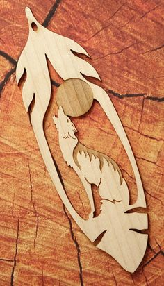 Howling Wolf Feather Bookmark Wood Bookmark Bookmark by FinePenArt Wood Carving Patterns, Wood Carving Art, Wood Patterns, Wood Art, Carving Wood Blocks, Mdf Wood, Canvas Patterns, Scroll Saw Patterns Free, Cross Patterns