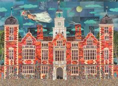Haunted Blickling Hall. Cut paper collage by Amanda White