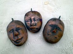 3 Face #Beads #Raku Beads #Pottery Beads #Tribal by #spinningstarstudio