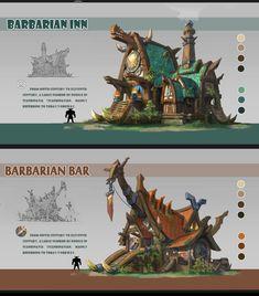 Barbarian Inn and Barbarian Bar, by Lin Rxmumu Fantasy Concept Art, Game Concept Art, Fantasy Art, Landscape Concept, Fantasy Landscape, Environment Concept Art, Environment Design, Prop Design, Game Design