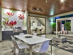 Stunning Renovated Home in Australia: Incredible Modern Residence Home Interior With White Dining Room Furniture Used Wooden Ceiling And Con. White Dining Room Furniture, White Wood Furniture, Budget Home Decorating, Small House Decorating, Decorating Ideas, Floor Design, House Design, Wall Design, Dining Room Ceiling Design
