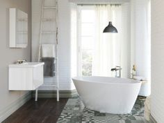 Those tiles are a great focal point…loving the simplicity of this bathroom #cphart50shades