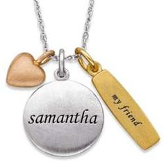 Sterling Silver Tri-Color My Friend Charm and Name Pendant #friendshipDay