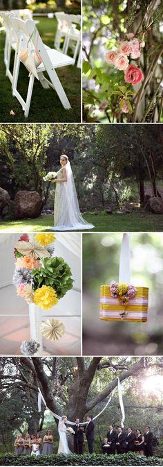 Ruffled® | Vintage Book Wedding at Calamigos Ranch Malibu by Jenny Liu, dangling paper flower clusters