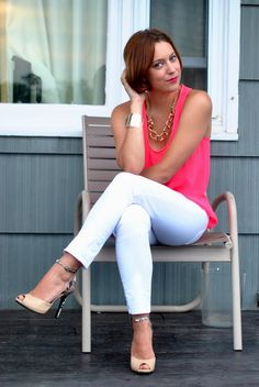 neon pink top, white pants, gold accessories  via my style pill
