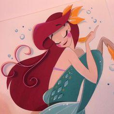The Art of Nathanna Erica - A bit closer! Disney Fan Art, Disney Love, Disney Magic, Goth Disney Princesses, Disney Princess Ariel, Disney Little Mermaids, Ariel The Little Mermaid, Origami, Disney And Dreamworks