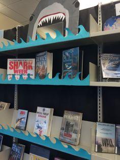 Shark Week #CHPLNJ Book Display Teen Library Displays, Library Themes, Library Activities, Library Ideas, Library Decorations, Elementary School Library, Library Bulletin Boards, Library Inspiration, Library Lessons