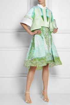 Peter Pilotto                               Radial cutout embroidered silk-gauze skirt