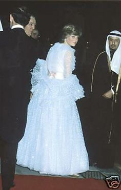 June 11, 1981: Lady Diana Spencer at the banquet given at Claridges for King Khalid of Saudi Arabia. Emmanuel gown.