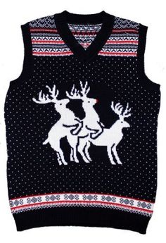 Ugly Christmas Sweater - Reindeer Threesome Naughty Sweater Vest by Skedouche Skedouche