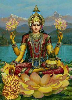 Goddess lakshmi workship on akshaya tritiya and lakshmi puja.Goddess lakshmi is a divine lady who brings all good fortune,hope,happiness,friendship,increased well being and joy in everybody's life. Saraswati Goddess, Shiva Shakti, Goddess Art, Goddess Lakshmi, Durga Maa, Hare Krishna, Lakshmi Images, Lakshmi Photos, Indian Goddess