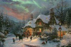 Thomas Kincaid, Christmas Jigsaw Puzzles, Art Thomas, Winter Images, Winter Beauty, Christmas Paintings, Victorian Christmas, Before Christmas, Reindeer