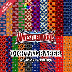 "WRESTLEMANIA - Digital Paper - 20 12x12"" jpeg 300 DPI - For Cardmaking, Scrapbooking, Party Decorations and More - Instant Download by ElectroPaper on Etsy"