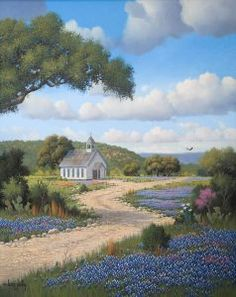 hill country church paintings   Larry Prellop Seascapes, Moonlit Surf