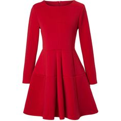 Round Neck Plain Long Sleeve Skater Dress (€25) ❤ liked on Polyvore featuring dresses, vestidos, robe, short dresses, mini dress, short skater dress, red mini dress, red skater dress and long-sleeve mini dress