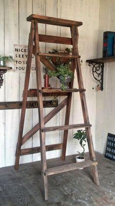 フレンチシャビー木製脚立
