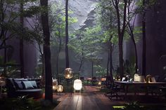 """""""Off The Grid Office"""" was created to illustrate our constant need of bonding with nature. Green Architecture, Landscape Architecture, Landscape Design, Architecture Design, Garden Design, House Design, Natural Architecture, 3d Architectural Visualization, Green Building"""