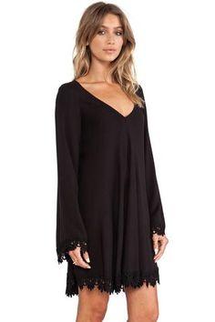 Robes Mini Decontracte Bordure Noire en Dentelle #ManchesLongues #robeautomne €17.36 modebuy.com