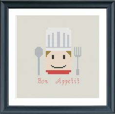 cross stitch pattern cook bon appetit modern cross by Happinesst