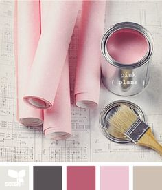 Pink and gray palette - living room ideas. Lots of brown taupe to calm down my Barbie dream living room!