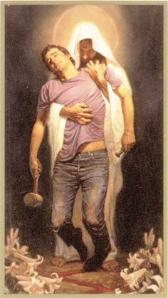 """""""This dramatic mounted print by artist Thomas Blackshear II is inspired by the forgiveness that Jesus brought to all that believe in Him. Depicting the savior supporting a sinner in his despair, it is a powerful depiction of the power of Christ's love. Images Du Christ, Pictures Of Christ, Thomas Blackshear, Image Jesus, Saint Esprit, Jesus Art, Jesus Is Lord, King Jesus, Christian Art"""