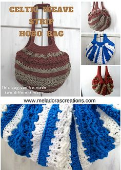 Celtic Weave Strip Hobo Bag, free crochet pattern with video and photo tutorials by Meladora's Creations
