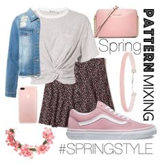 """""""Spring Pattern Mixing"""" by amber-lanehart ❤ liked on Polyvore featuring Hollister Co., T By Alexander Wang, Vans, MICHAEL Michael Kors, Miss Selfridge, Sans Souci and SpringStyle"""