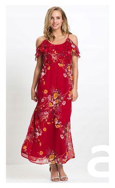 stylizacja elegancka, ciekawa stylizacja, moda damska, sukienka w kwiaty Cold Shoulder Dress, Bonprix, Dresses, Products, Fashion, Complete Outfits, Dark Red, New Dress, Floral Prints