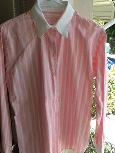 Thomas Pink, British tailored Ladies shirt.  100% finest Irish cotton. PinK & White stripes, with White collar and cufflink cuffs.  Chicissima!