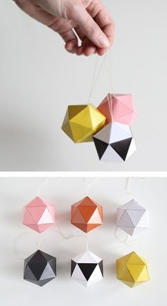Y Christmas decorations, Best DIY Projects, D.Y Christmas decorationsDIY Geometric Christmas Decorations - Craft ~ Your ~ HomeDIY Christmas Ornaments, made with paper.DIY geometric decoration template, great idea for cute christmas ornaments and the Diy Christmas Decorations, Holiday Crafts, Christmas Crafts, Origami Christmas, Diy Ornaments, Thanksgiving Holiday, Christmas Balls, Paper Decorations, Christmas Ornaments