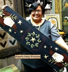 So fun to see this picture of my friend Brenda from Pumpkin Patch Primitives showing up on my Pinterest page.  I had to pin her pictured!   (Cath's Pennies Designs note)